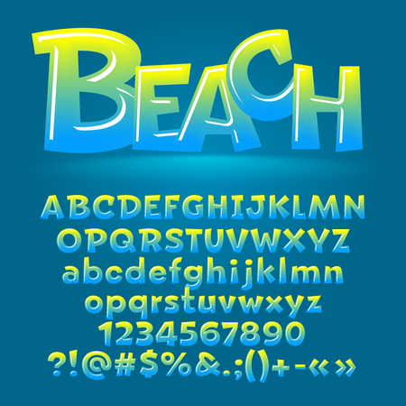 Vector beach glossy letters, number, symbols. Contains graphic style Illustration
