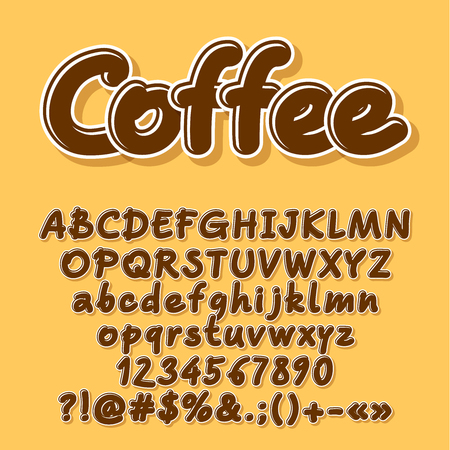 Brown vector letters, numbers, symbols. Font contains graphic style