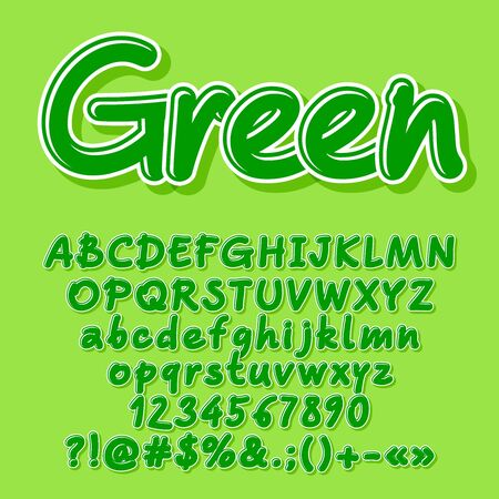 Green vector letters, numbers, symbols. Font contains graphic style. Illustration