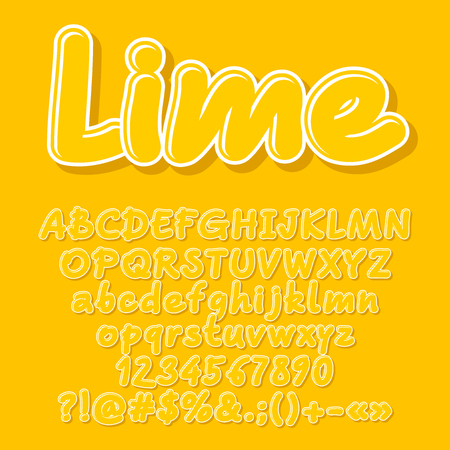 Yellow vector letters, numbers, symbols. Font contains graphic style Illustration