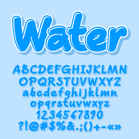 Blue vector letters, numbers, symbols. Font contains graphic style.