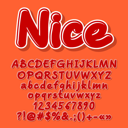 Nice vector letters, numbers, symbols. Font contains graphic style