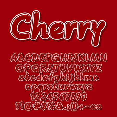 Red vector letters, numbers, symbols. Font contains graphic style