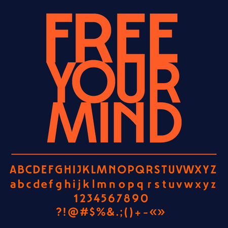 Vector card with set of letters, numbers, symbols. Free your mind