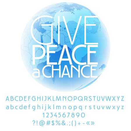 Vector card with set of letters, numbers, symbols. Give peace a chance Çizim