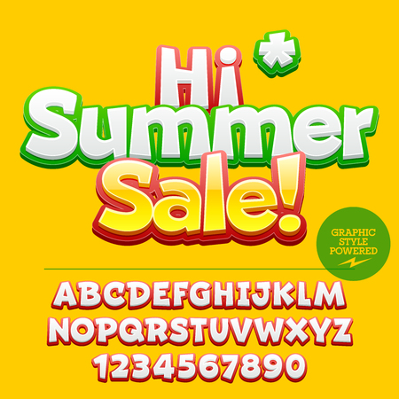 discount banner: Vector colorful label with text Hi summer sale! With alphabet and number set