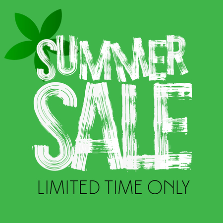 Vector colorful modern grungy banner with text Summer sale and green flower