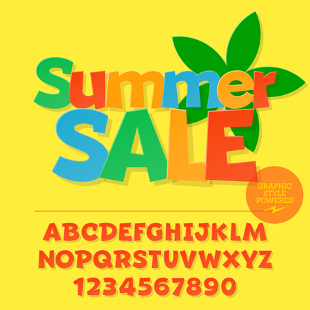 Vector colorful funny kids banner with text Summer sale