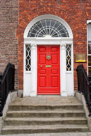Georgian front door in Dublin, Ireland photo