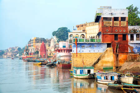 mystic place: View Of Varanesi And Ganges River Stock Photo
