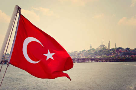 Turkey flag over Bosforus photo