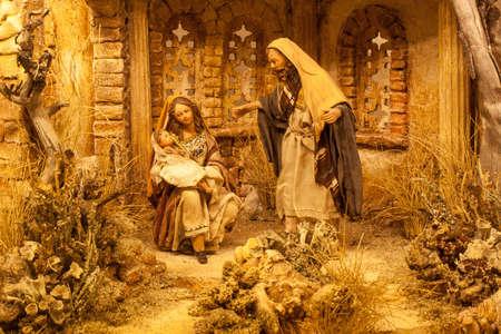 Crèche de Noël avec Jésus, Marie et Joseph