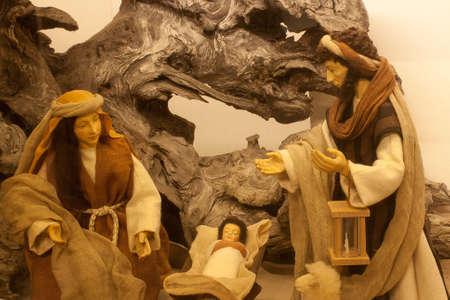 Christmas crib with Jesus, Mary and Joseph