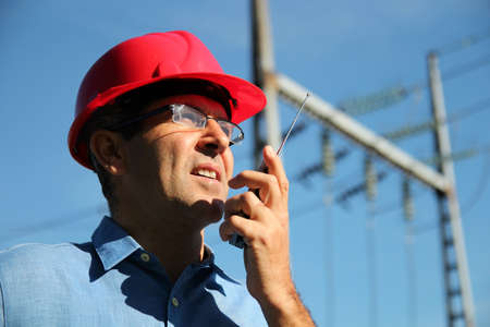 electrical engineer: Electrical Engineer At Work Stock Photo