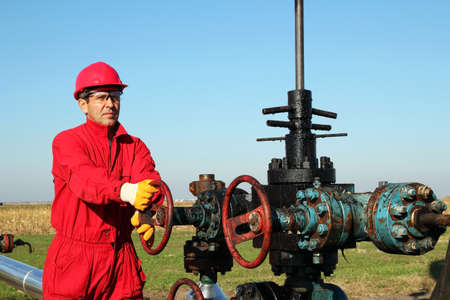 oil worker: Oil Worker at Drilling Rig