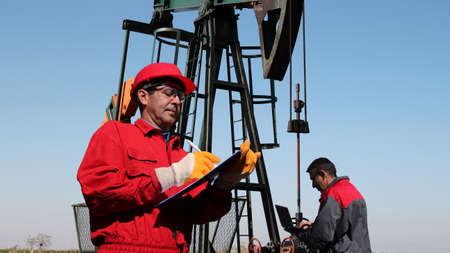Petroleum engineers at work in the oil and gas industry