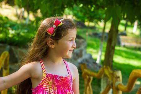 pretty little girl on wooden bridge