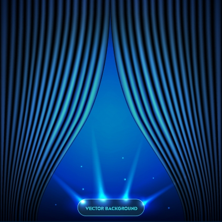 Blue open the curtain with a view of outer space Stock Vector - 23492537