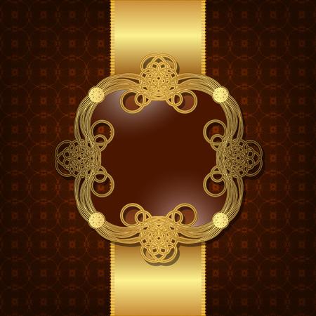 Luxury background with gold frame and satin ribbon Ilustração