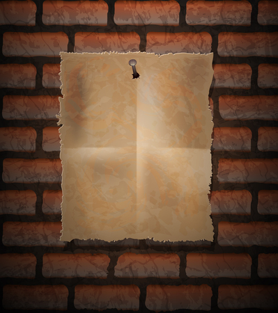 nailed: Brick background and old paper sheet nailed Illustration