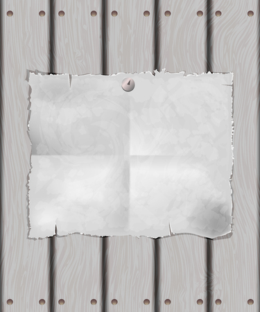 A sheet of white paper on a wooden surface,  paper is attached to the fence button, grunge background Vector