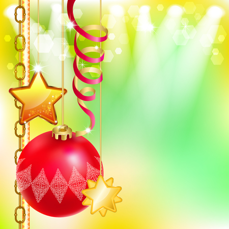 Bright holiday background with Christmas ball, stars and streamers. Christmas card