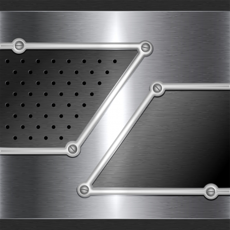 穿孔とネジ鋼の金属の背景