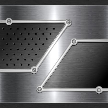 Stalen metalen achtergrond met perforatie en schroeven Stock Illustratie