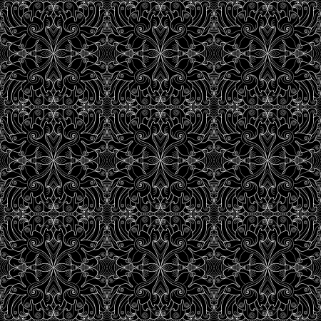 Seamless black-and-white contour pattern. Fancy flowers and curlicues Vector