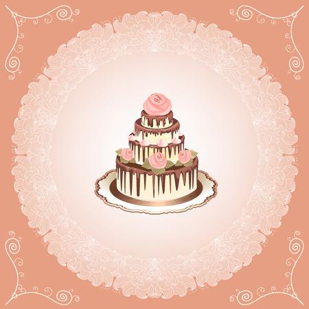 decoracion de pasteles: Pastel con rosas sobre fondo de encaje. Invitación de la boda