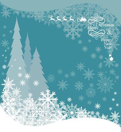 Christmas background with snowflakes, Christmas trees and Santas reindeer