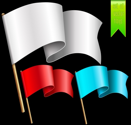 the shaft: A set of multi-colored flags with wooden shaft