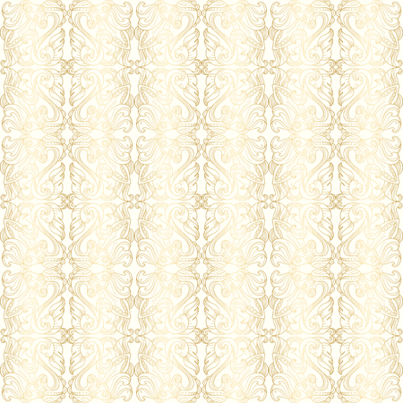 Luxury white seamless wallpaper with gold floral pattern Vector