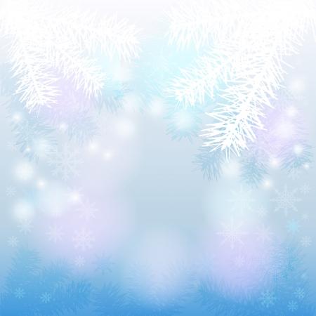 モミの枝と雪のクリスマスの背景
