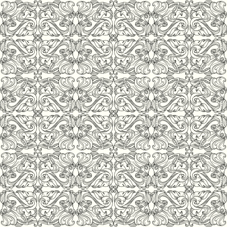 Seamless black-and-white contour pattern with swirls Illustration