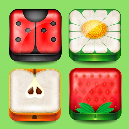 Set of buttons and icons with fruits and flowers Vector