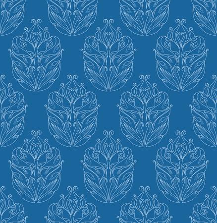 behang blauw: Naadloos blauw behang met bloemen versiering Stock Illustratie