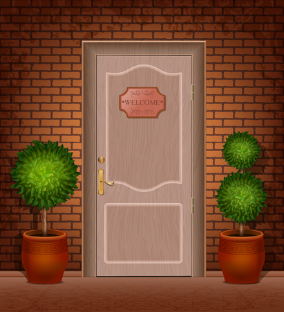 Front door with a sign Welcome and trees in pots Vector