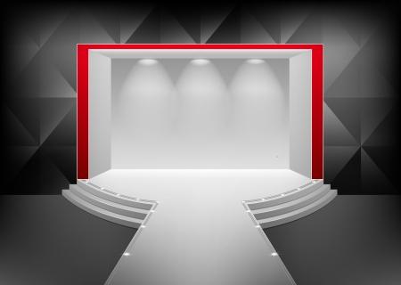 Scène met een podium en een trap verlicht door een schijnwerper. Het interieur in de stijl van het minimalisme