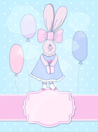Cute bunny-girl in a dress with a bow. Bunny holding a gift. The idea for birthday cards Vector