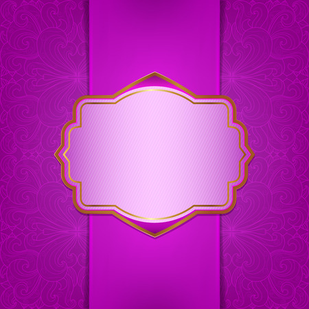 Frame with satin ribbon on a pink floral background Vector