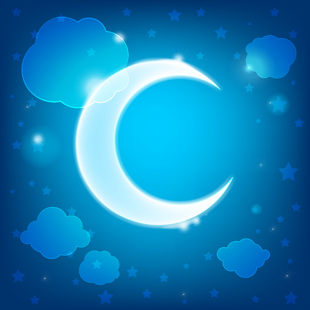 Cute childrens wallpaper with clouds, stars and month Illustration