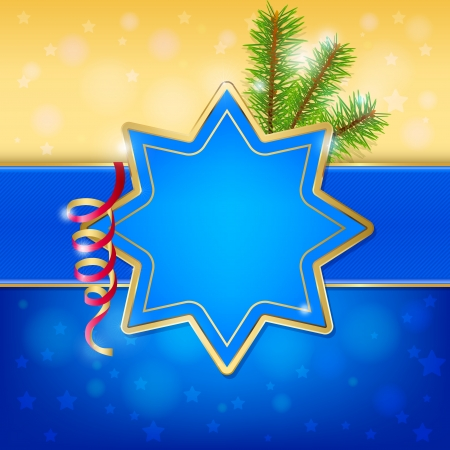 Christmas frame in the shape of a star with serpentine and spruce branches. Gold and blue design