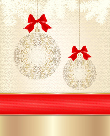 Christmas golden balls laced with red bows