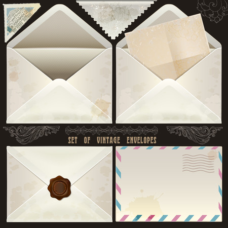 Set of vintage design elements and envelopes Vector