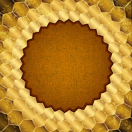 Gold grungy frame in the form of honeycombs