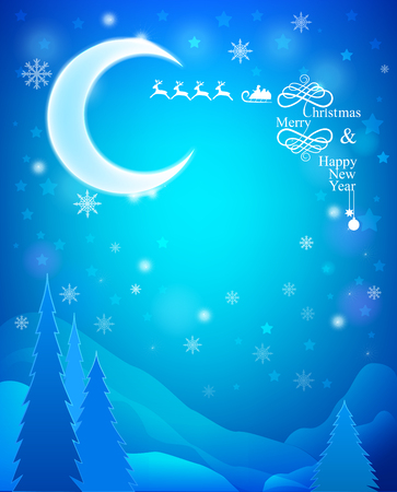 Night landscape with the moon, mountains and pine trees. Christmas Card Vector
