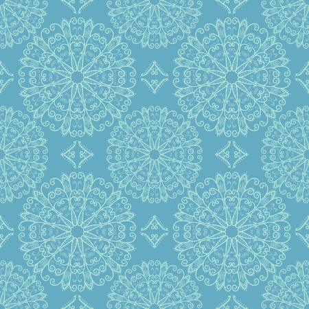 Seamless pattern with elegant openwork snowflakes Vector