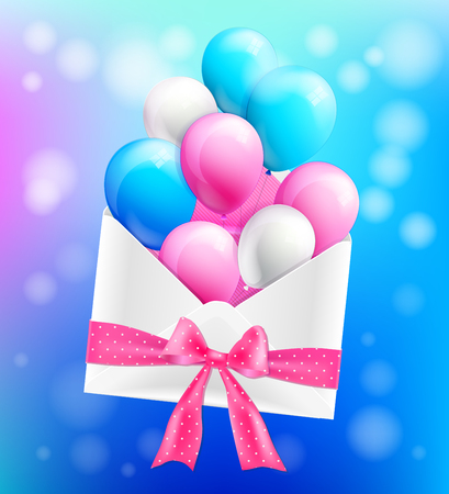 Envelope tied with a ribbon and colorful balloons Vector