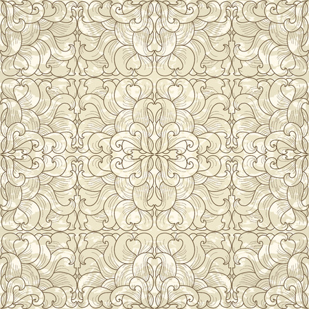 Seamless floral pattern on antique paper